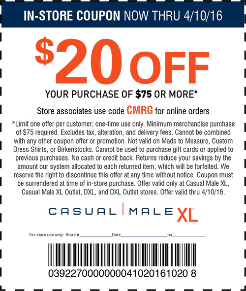 Casual Male XL Coupon February 2019 $20 off $75 at Casual Male XL, or online via promo code CMRG
