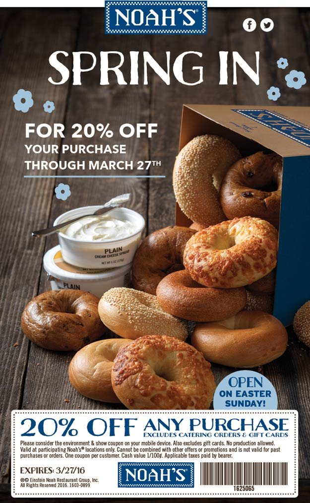 Noahs Coupon October 2018 20% off at Noahs bagels