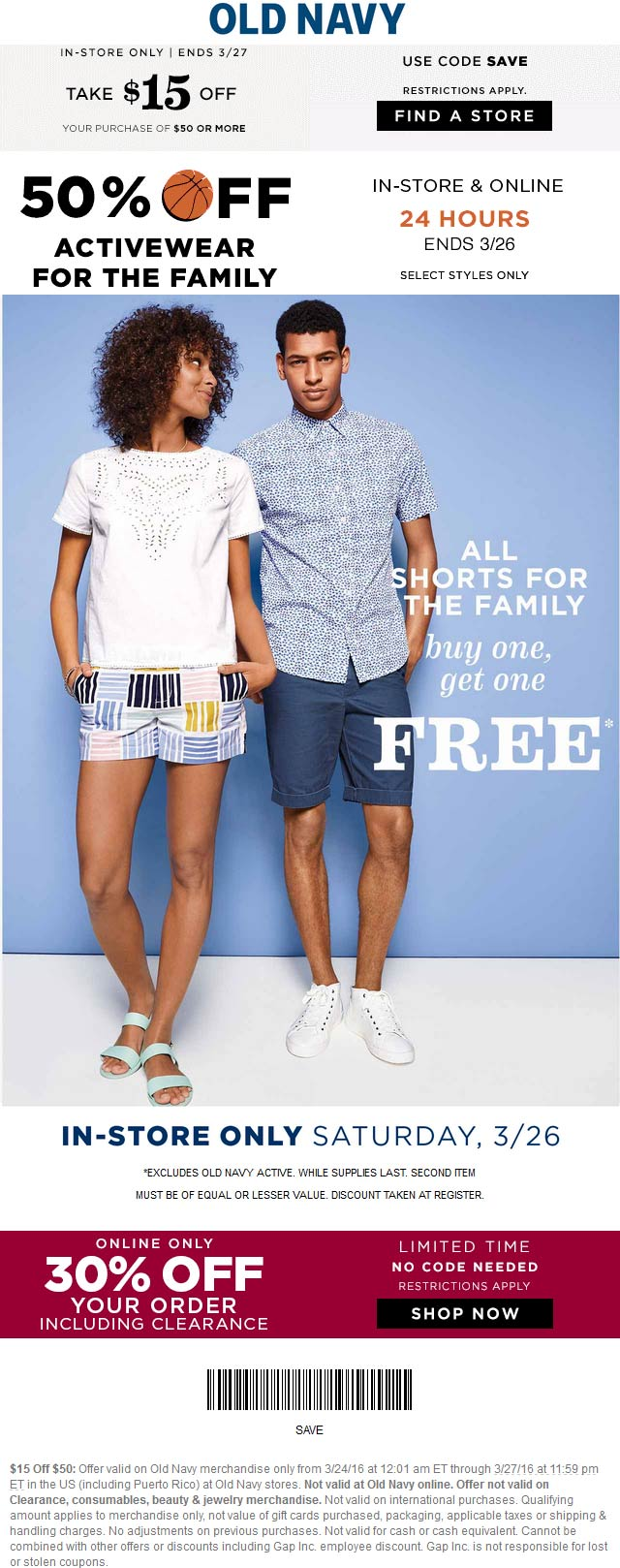 Old Navy Coupon May 2017 $15 off $50 at Old Navy, or 30% automatically online
