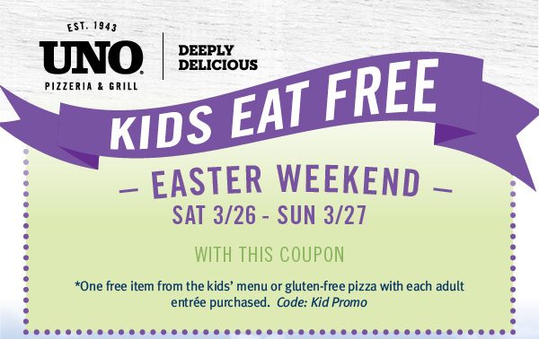 Uno Pizzeria Coupon June 2017 Free kids meal with yours at Unos pizzeria & grill