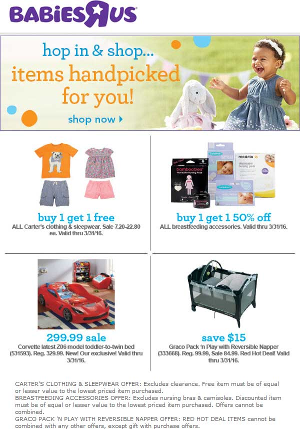Babies R Us Coupon April 2018 2-for-1 on Carters kidswear & more at Babies R Us