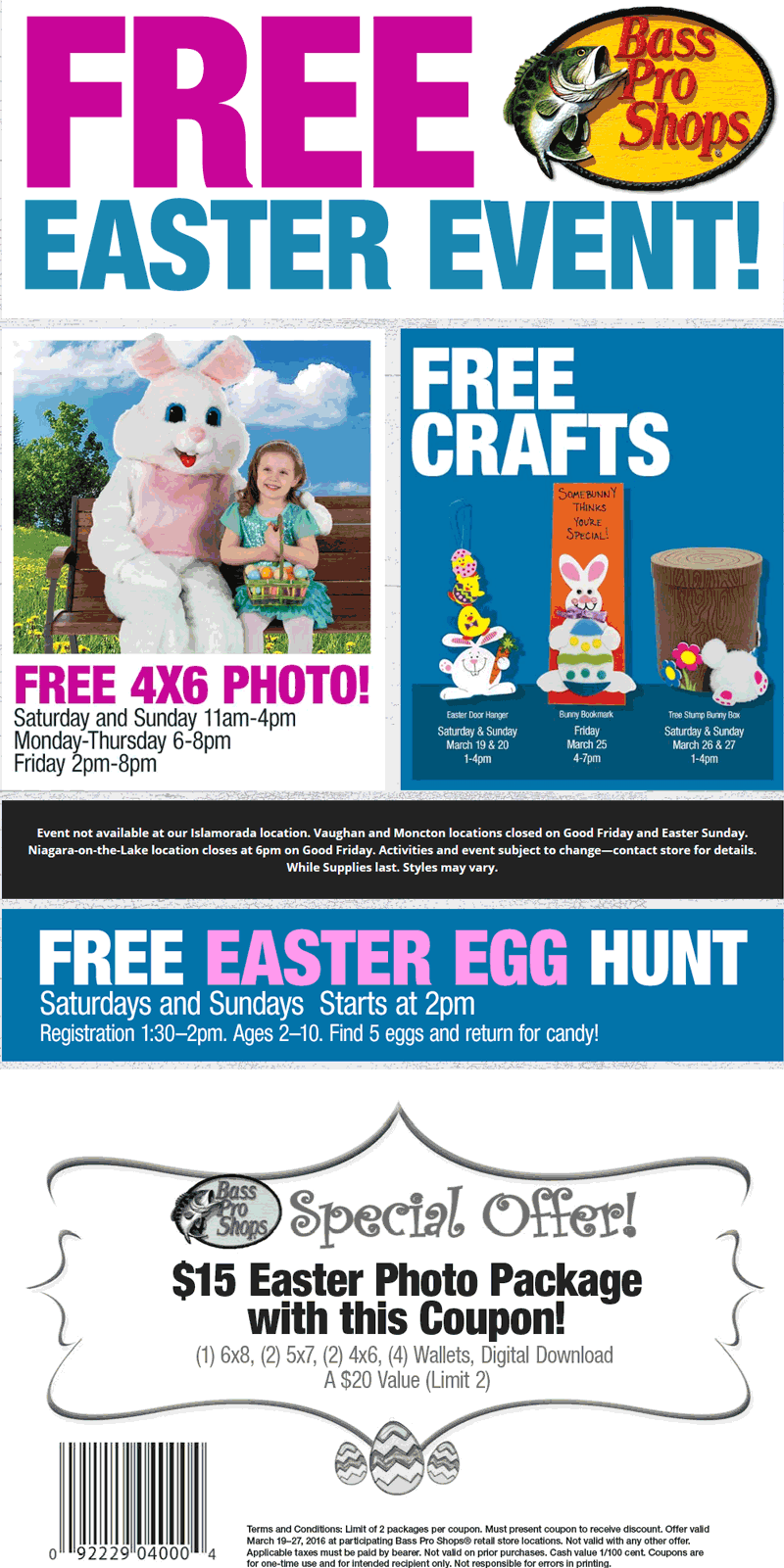 Bass Pro Shops Coupon July 2018 Free 4x6 photo with Easter bunny & more at Bass Pro Shops