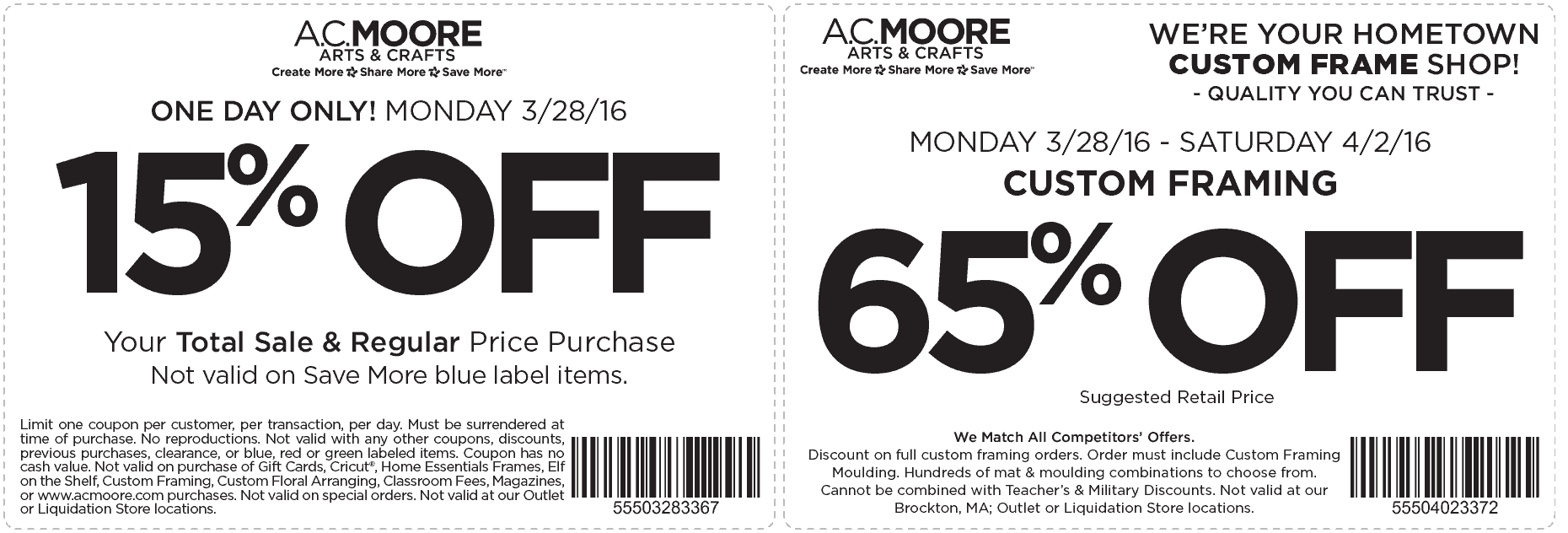 A.C. Moore Coupon February 2018 Extra 15% off everything today at A.C. Moore
