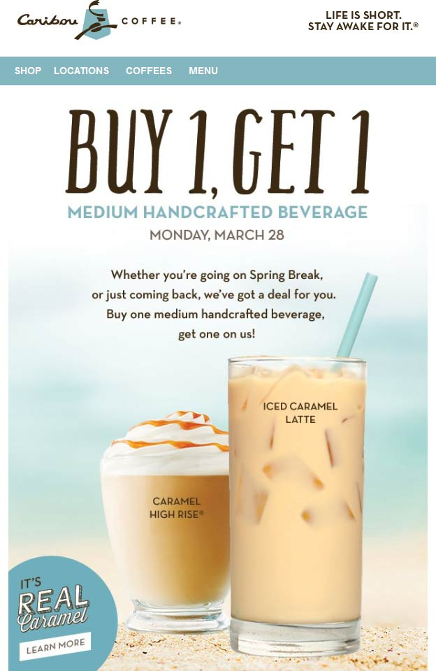 Caribou Coffee Coupon January 2017 Second beverage free today at Caribou Coffee