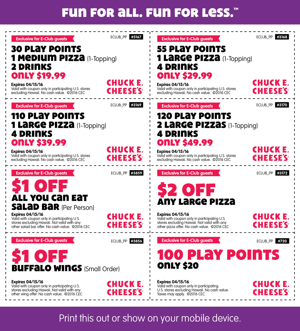 Chuck E. Cheese Coupon March 2017 30 token points + a pizza + 2 drinks = $20 & more at Chuck E. Cheese