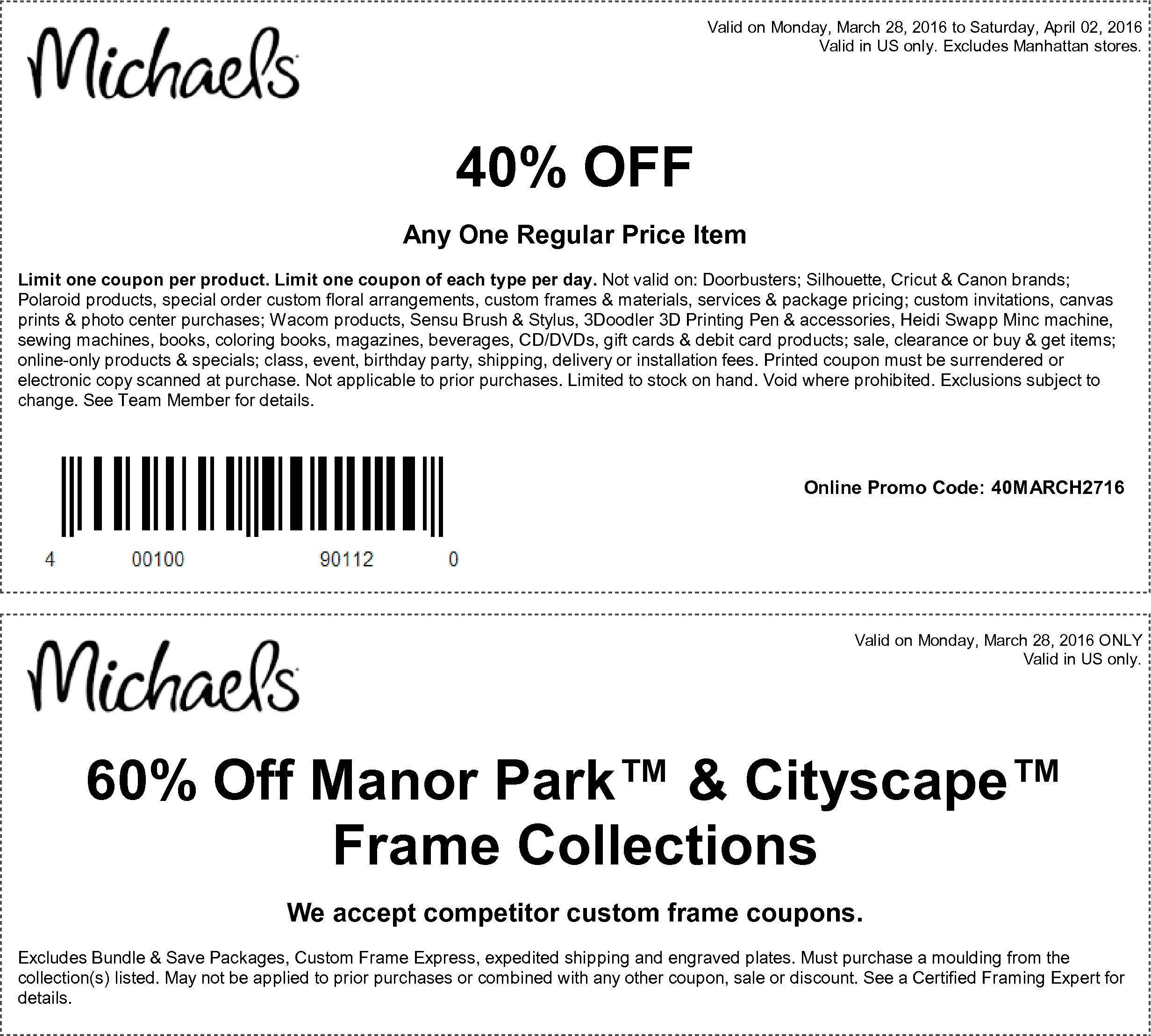 Michaels Coupon December 2017 40% off a single item at Michaels, or online via promo code 40MARCH2716