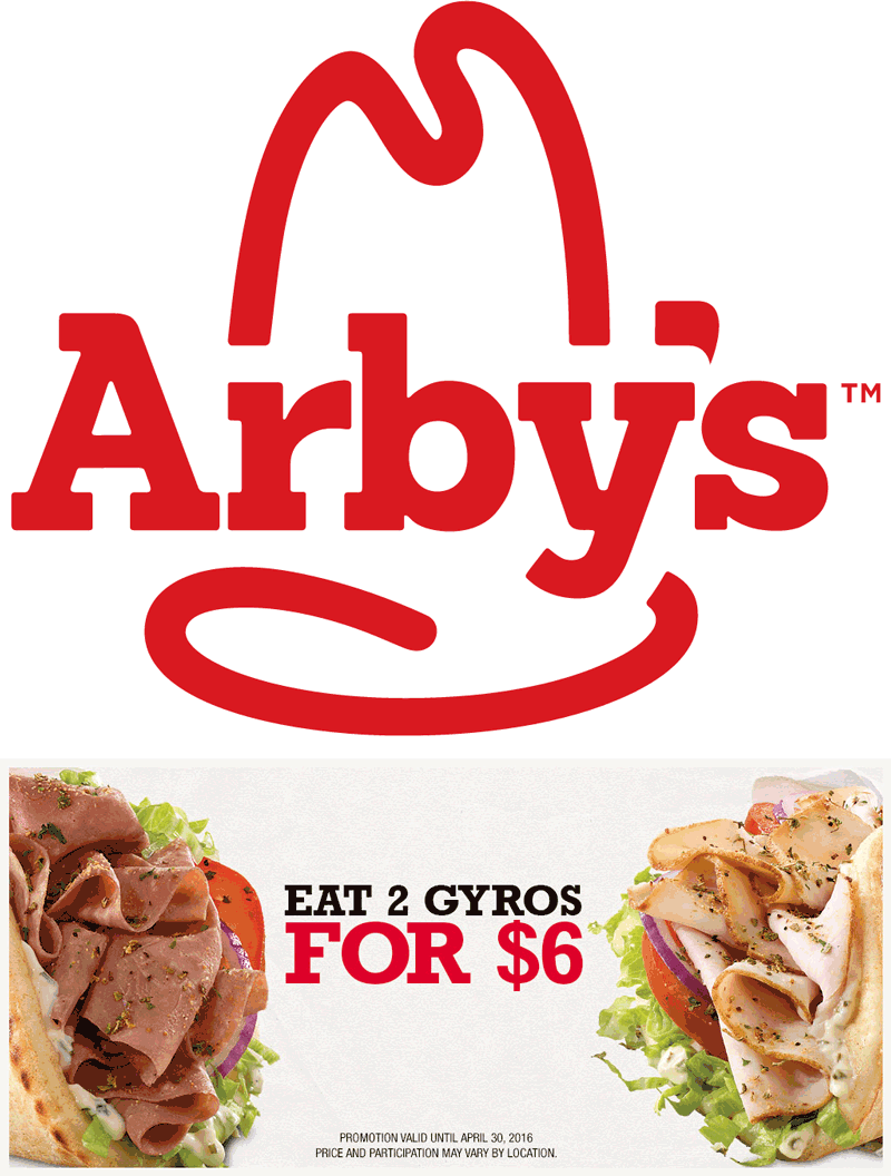 Arbys Coupon June 2017 2 gyros for $6 bucks at Arbys