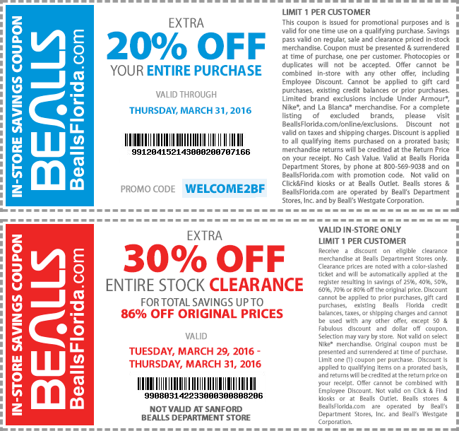 Bealls Coupon February 2017 Extra 20% off everything & more at Bealls, or online via promo code WELCOME2BF