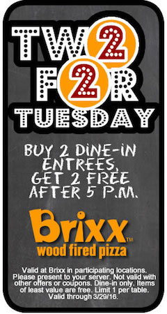 Brixx Coupon March 2018 4-for-2 on entrees after 5pm today at Brixx wood fired pizza