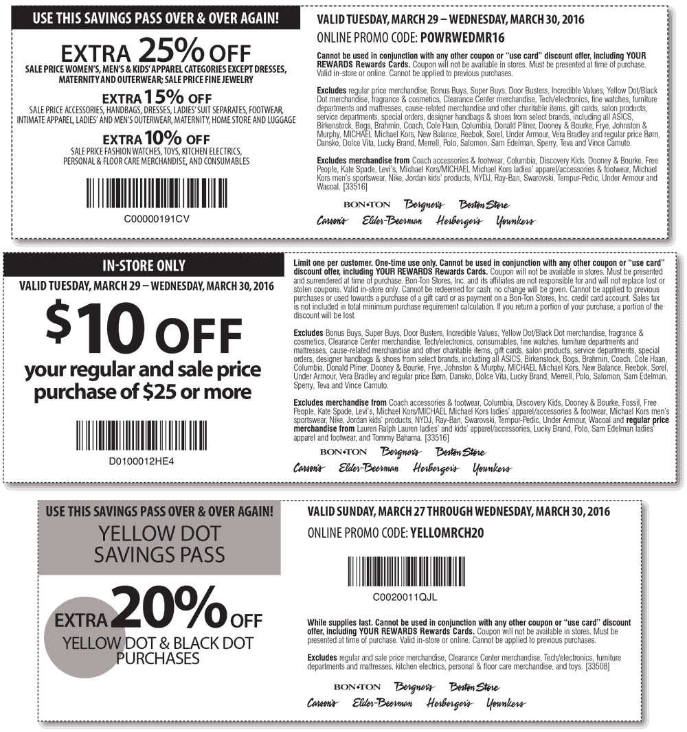 Bon Ton Coupon February 2017 Extra 25% off & more at Carsons, Bon Ton & sister stores, or online via promo code POWRWEDMR16