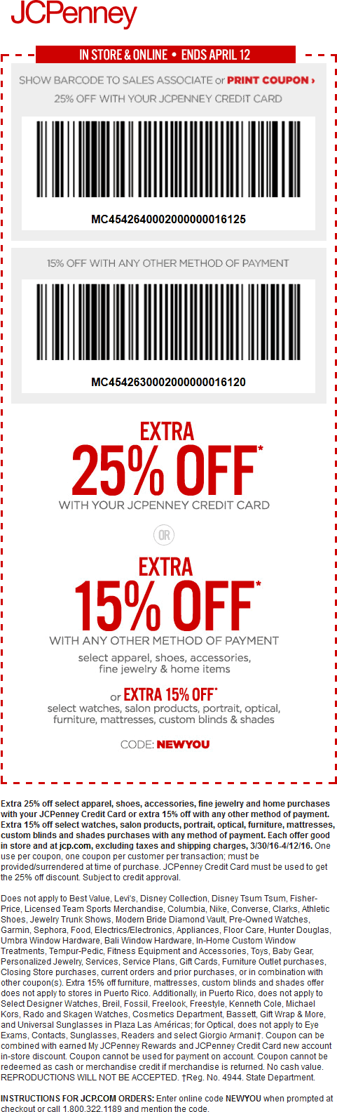 JCPenney Coupon March 2017 Extra 15% off at JCPenney, or online via promo code NEWYOU