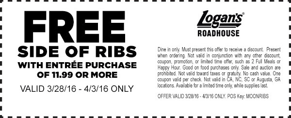 Logans Roadhouse Coupon June 2019 Free ribs with your entree at Logans Roadhouse