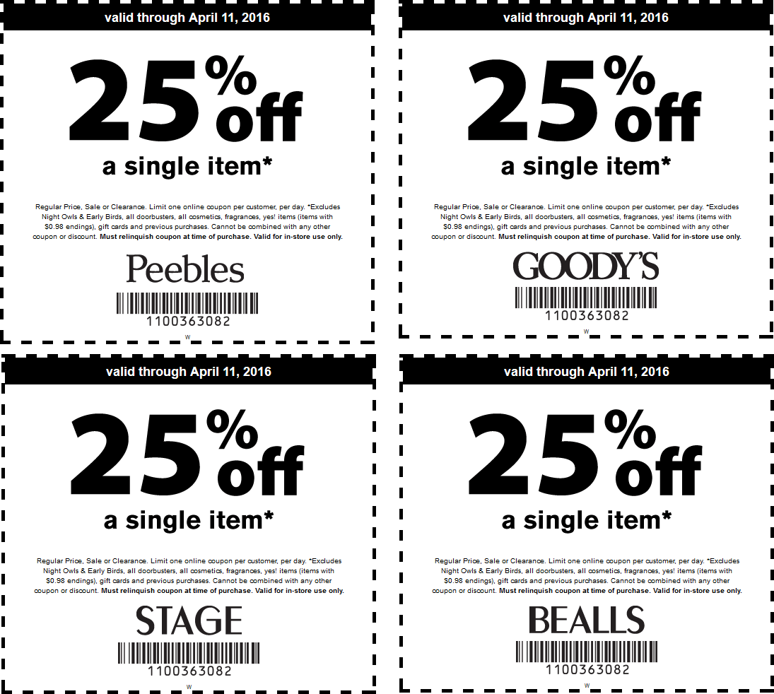 Stage Coupon December 2016 25% off a single item at Goodys, Peebles, Bealls & Stage stores