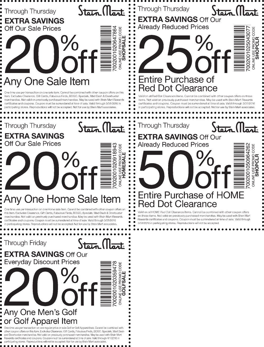 Stein Mart Coupon May 2017 50% off red dot clearance & more at Stein Mart, or online via promo code SHOPSALE