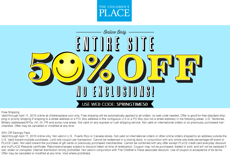 The Childrens Place Coupon March 2017 50% off everything online + free shipping at The Childrens Place