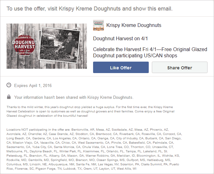 Krispy Kreme Coupon November 2018 Free glazed donut Friday at Krispy Kreme doughnuts