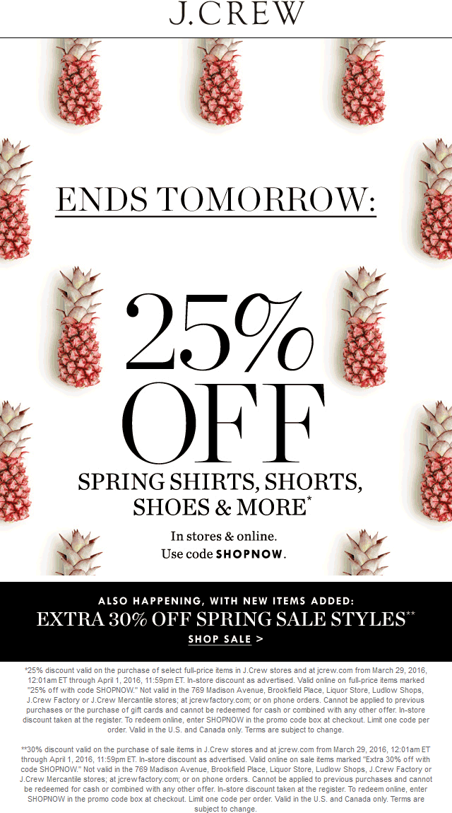 J.Crew Coupon October 2019 25% off spring items at J.Crew, or online via promo code SHOPNOW