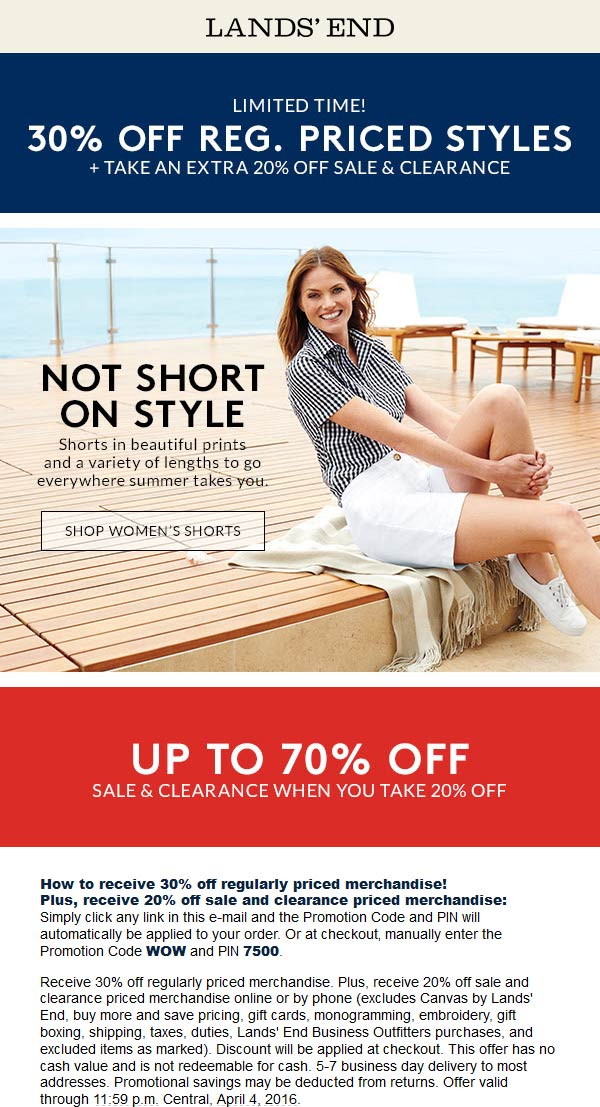 Lands End Coupon September 2017 30% off at Lands End, or online via promo code WOW and pin 7500