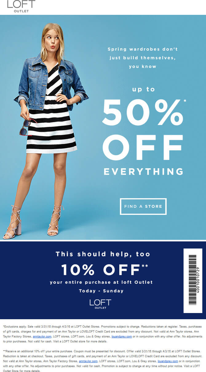 LOFT Outlet Coupon February 2017 Extra 10-50% off at LOFT Outlet