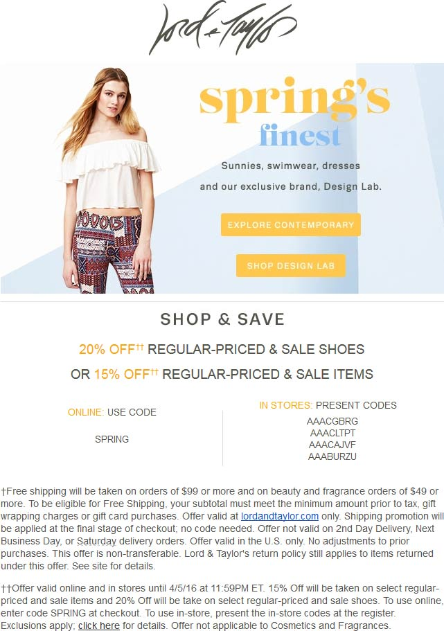 Lord & Taylor Coupon September 2017 15-20% off at Lord & Taylor, or online via promo code SPRING