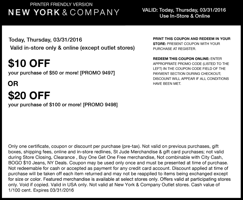 New York & Company Coupon February 2017 $10 off $50 & more today at New York & Company, or online via promo code 9497