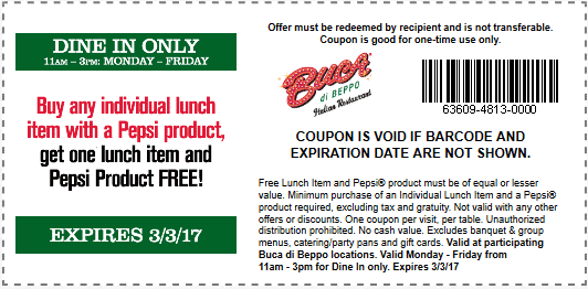 Buca di Beppo Coupon March 2019 Second lunch free at Buca di Beppo