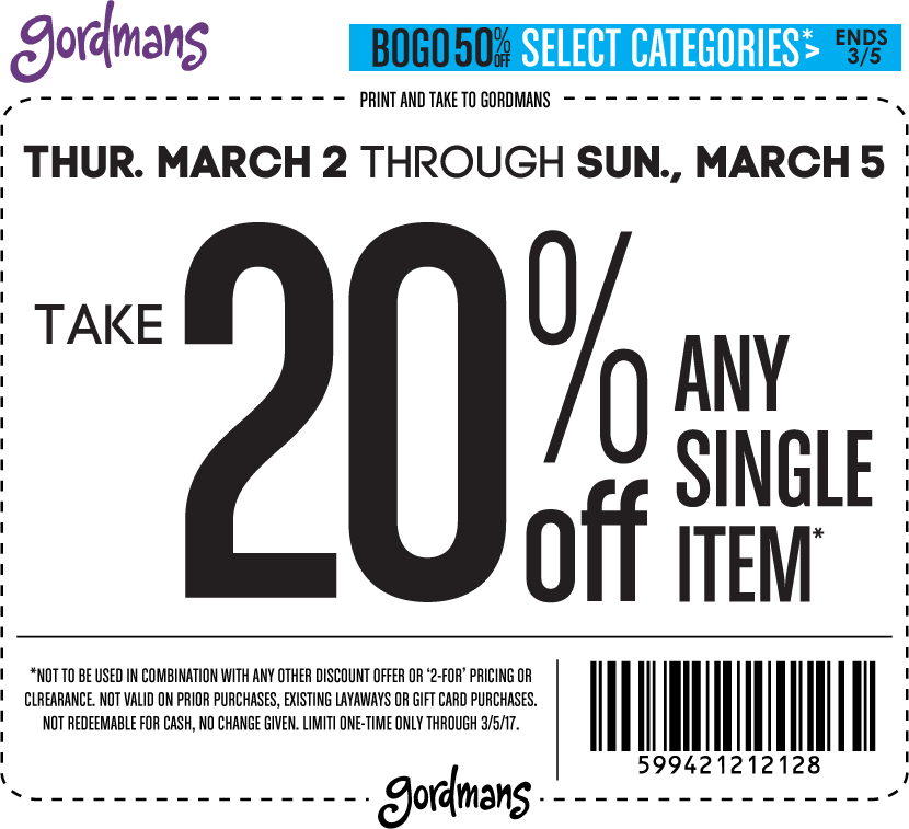 picture regarding Gordmans Printable Coupon known as Gordmans Discount codes - 20% off a solitary products far more at Gordmans