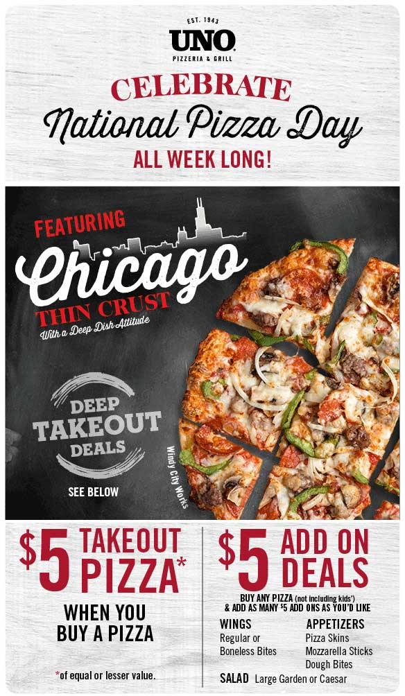 Uno Pizzeria Coupon October 2018 Second takeout pizza for $5 & more at Uno Pizzeria & grill
