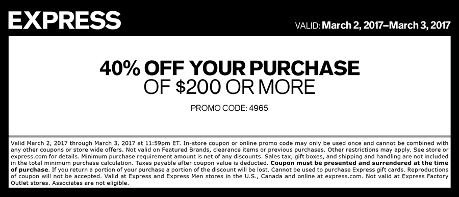 Express Coupon March 2019 40% off $200 today at Express, or online via promo code 4965