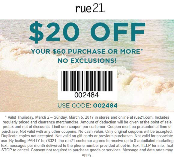 Rue21 Coupon July 2019 $20 off $60 at rue21, or online via promo code 002484