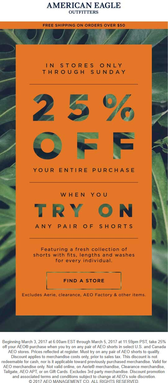 American Eagle Outfitters Coupon August 2018 25% off everything at American Eagle Outfitters