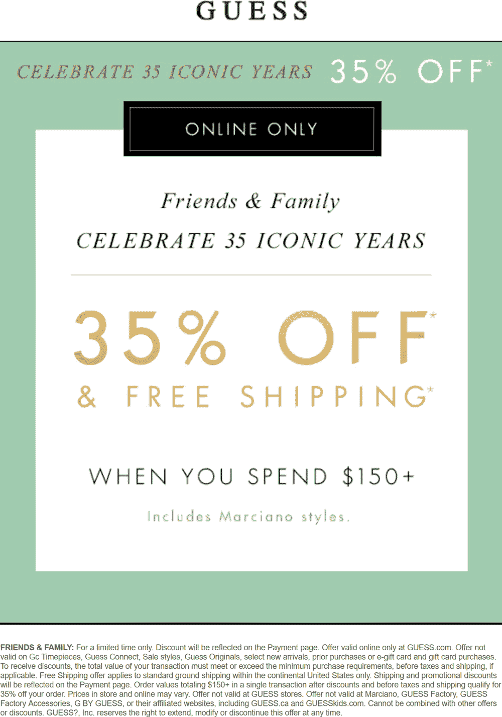 Guess.com Promo Coupon 35% off online at GUESS, no code needed