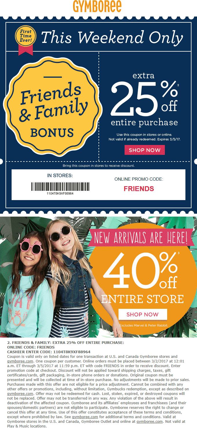 Gymboree Coupon August 2018 40% off the store + extra 25% off at Gymboree, or online via promo code FRIENDS