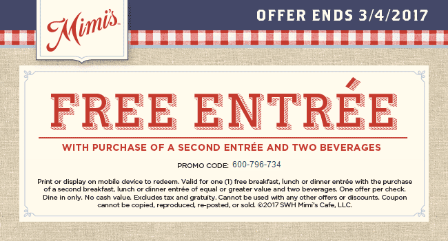 Mimis Cafe Coupon May 2019 Second entree free today at Mimis Cafe