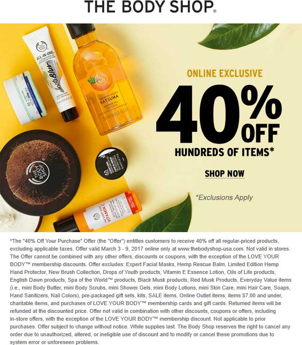 The Body Shop Coupon April 2019 40% off online at The Body Shop, no code needed