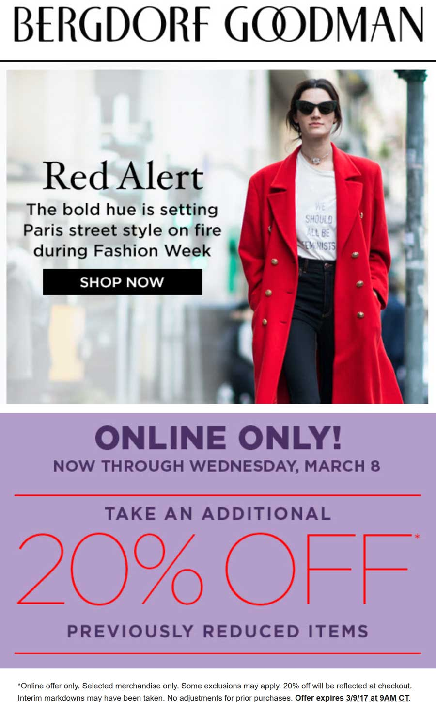 Bergdorf Goodman Coupon March 2019 Extra 20% off sale items online at Bergdorf Goodman