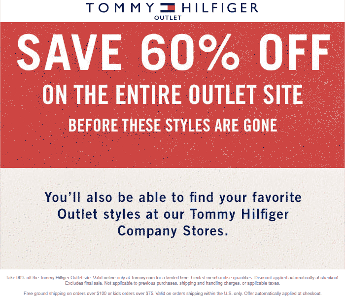 Tommy Hilfiger Outlet Coupon August 2018 60% off online at Tommy Hilfiger Outlet
