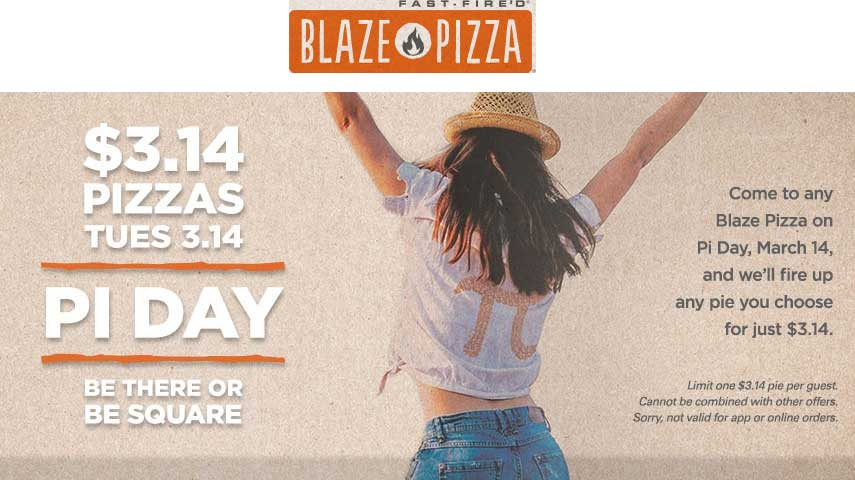 BlazePizza.com Promo Coupon $3.14 pizzas Tuesday at Blaze Pizza
