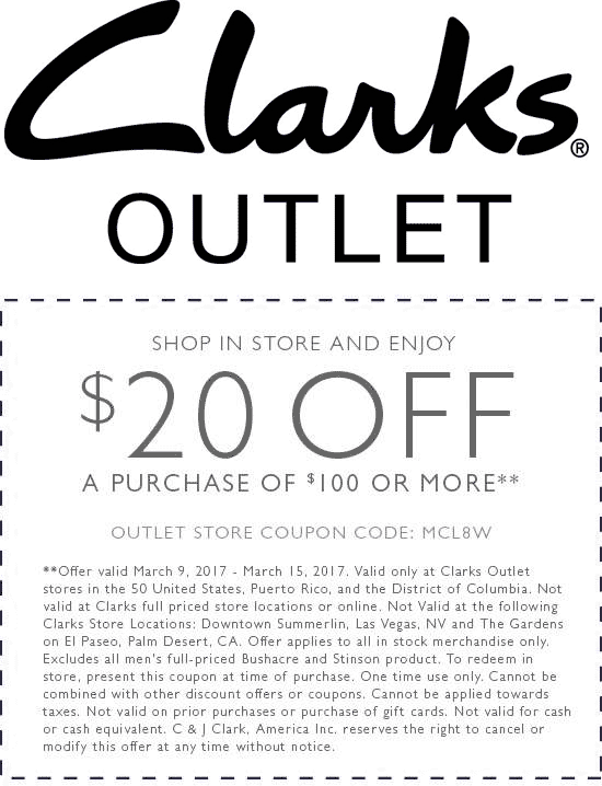 Clarks Outlet Coupon August 2018 $20 off $100 at Clarks Outlet