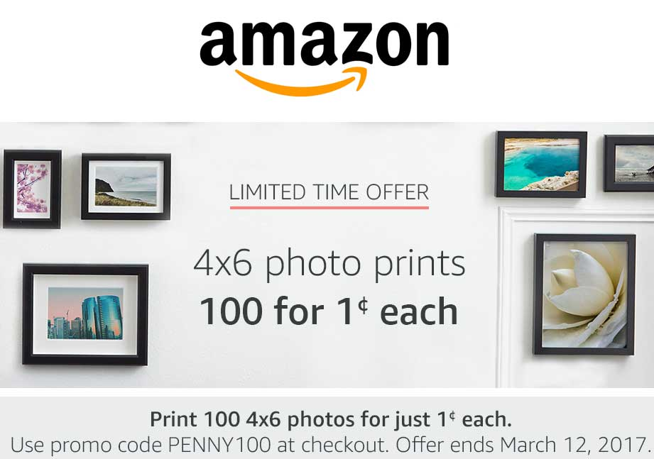 Amazon.com Promo Coupon 100 4x6 photo prints for $1 at Amazon via promo code PENNY100