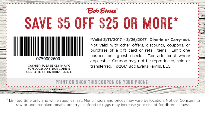 Bob Evans Coupon October 2018 $5 off $25 at Bob Evans restaurants