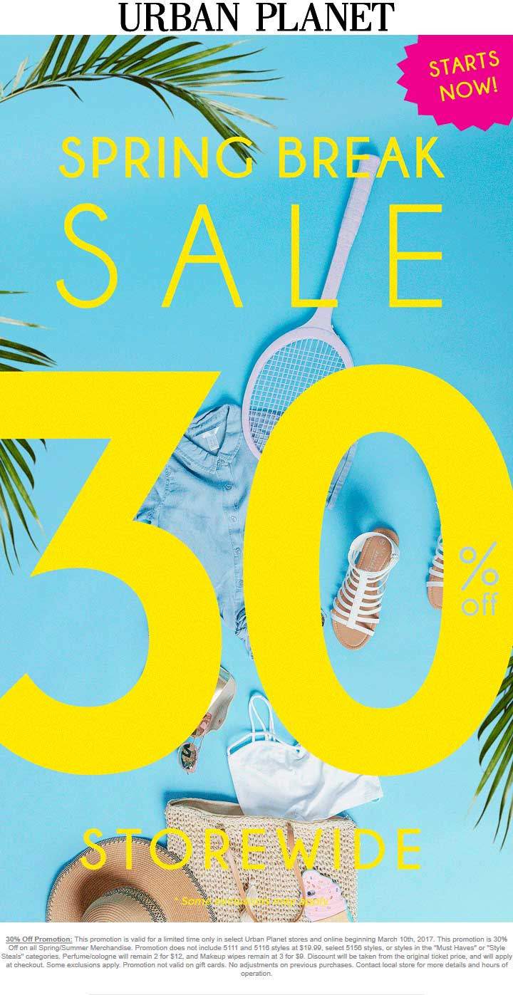 Urban Planet Coupon October 2018 Extra 30% off everything at Urban Planet, ditto online