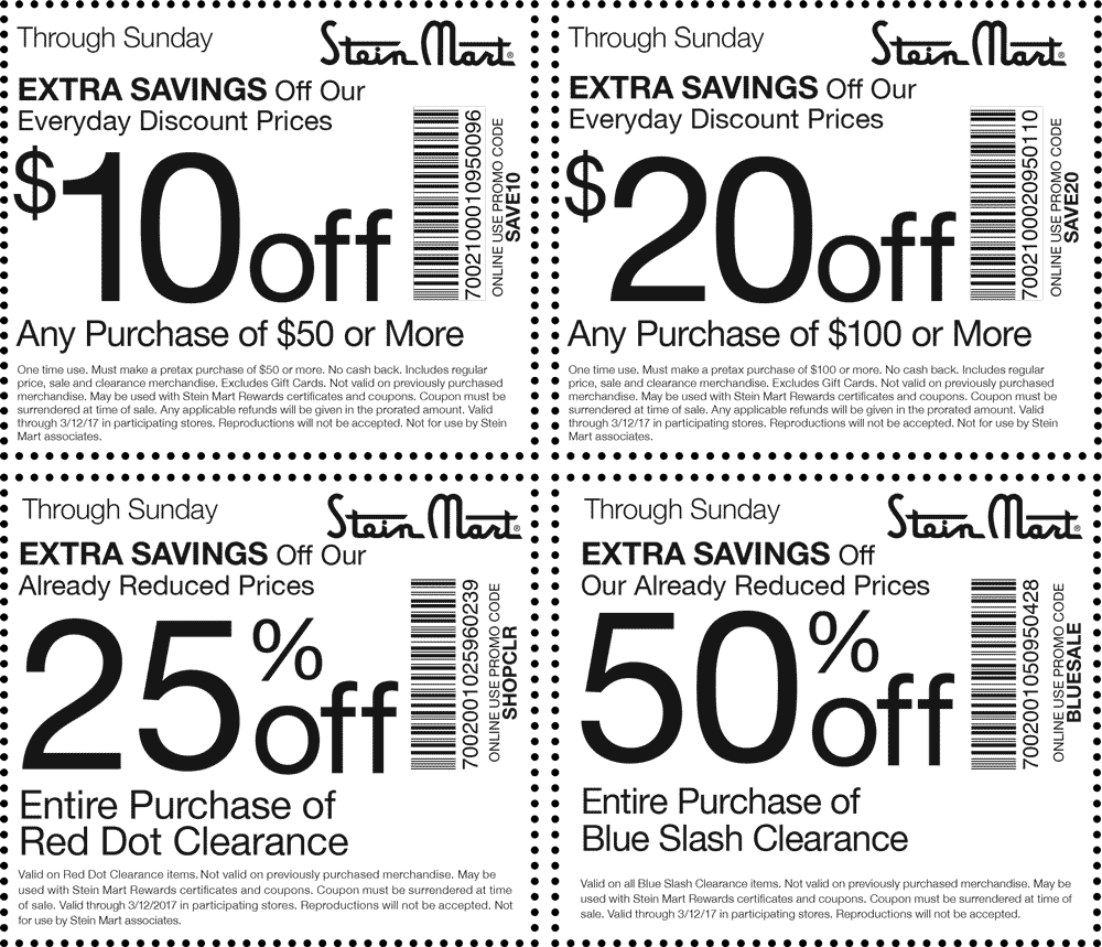 photograph regarding Stein Mart Printable Coupon identify Stein Mart coupon codes - $10 off $50 further nowadays at Stein