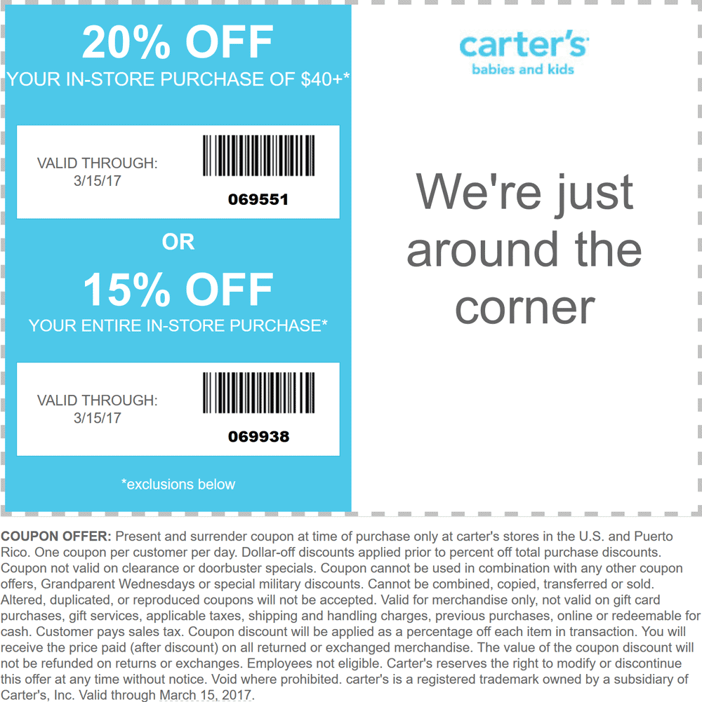 Save with our 30 active Carters promo codes