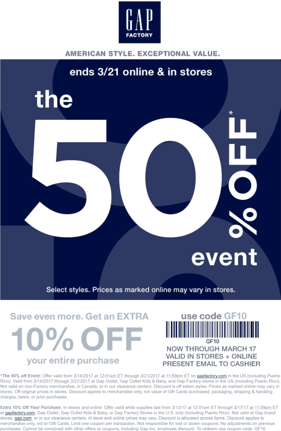 Gap Factory Coupon August 2018 50-60% off at Gap Outlet, Gap Outlet Kids & Baby, and Gap Factory, or online via promo code GF10