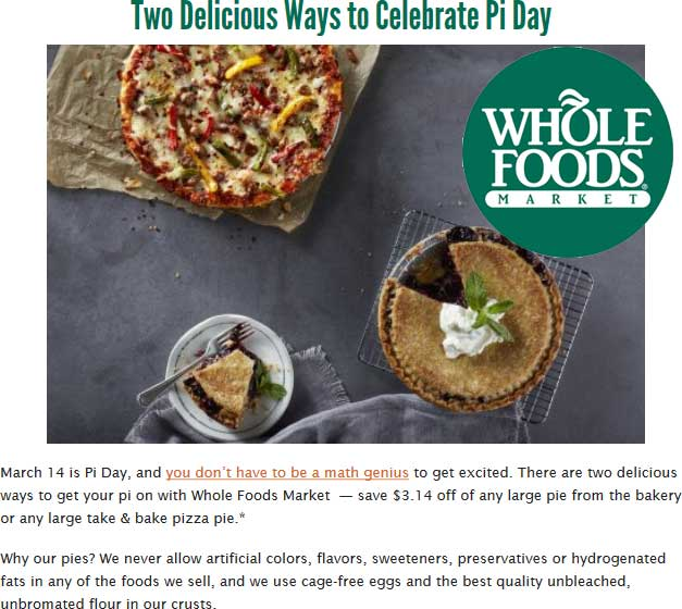 Whole Foods Coupon October 2018 $3 off pizza or pie today at Whole Foods