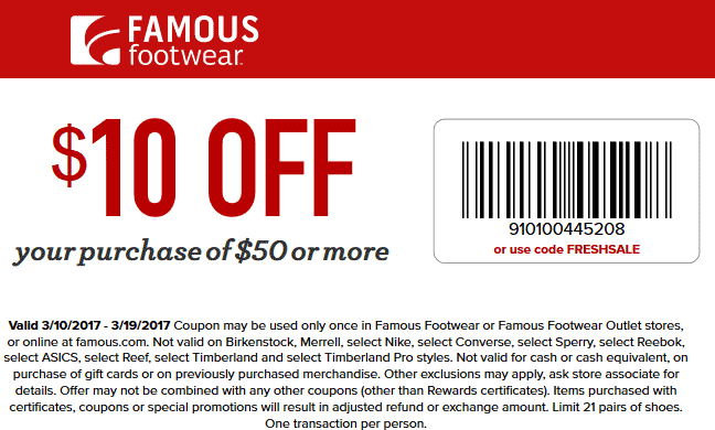 Famous footwear coupons 10 off 50