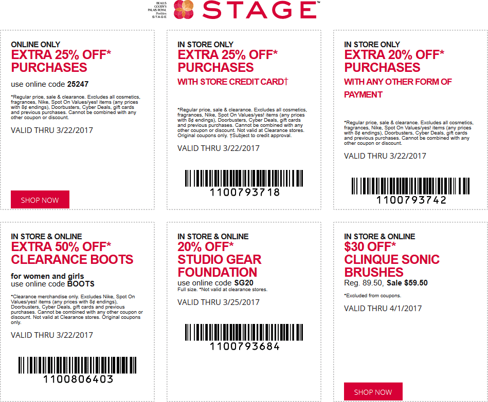 Stage Coupon December 2018 20% off at Stage stores, or 25% online via promo code 25247