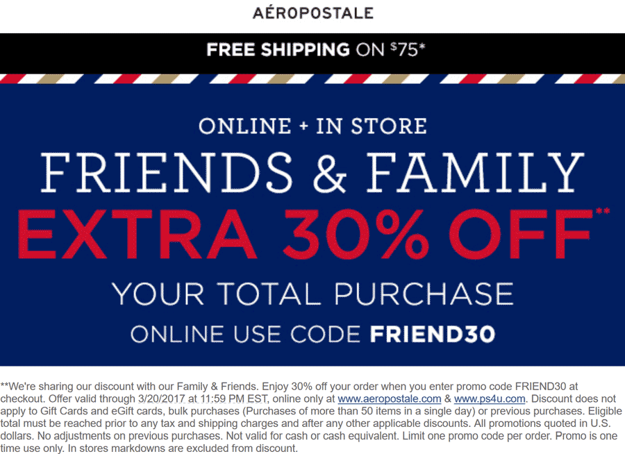 Aeropostale Coupons Extra 30 Off At Aeropostale Or Online Via Promo Code Friend30