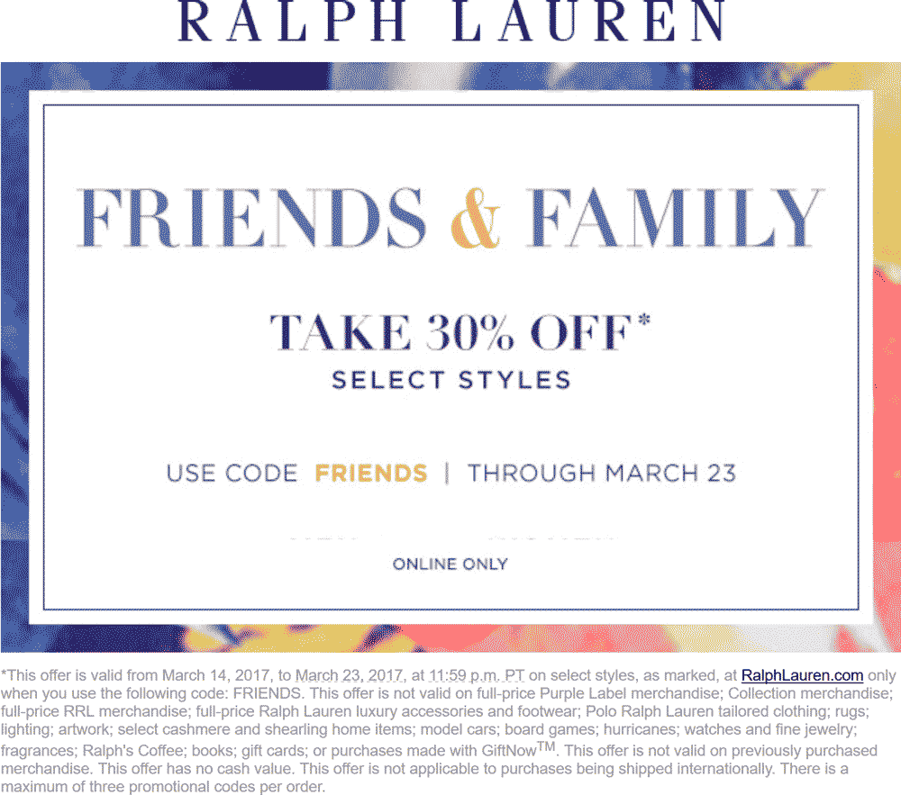 Ralph Lauren Coupon August 2018 30% off online at Ralph Lauren via promo code FRIENDS